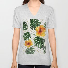 Tropical Leaves Hibiscus on a Gold Sand Background Unisex V-Neck
