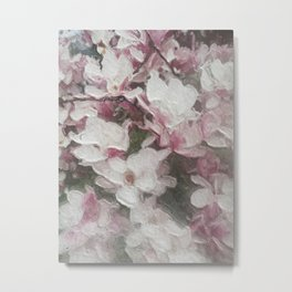 Magnolia Blooms in the Rain Metal Print