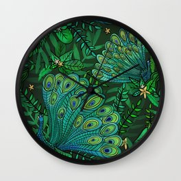 Peacocks in Emerald Forest Wall Clock