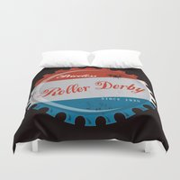 roller derby Duvet Covers featuring Vintage Roller Derby Bottle Cap  by LucyDynamite