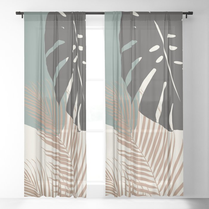 Minimal Monstera Palm Finesse #1 #tropical #decor #art #society6 Sheer Curtain