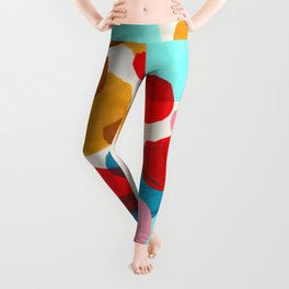 Fun Colorful Bright Abstract Shapes Mid Century Modern Patterns Blue Teal Red Pink Yellow Ochre Leggings