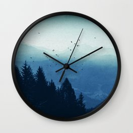Blue Valmalenco - Misty Blue Mountains Wall Clock