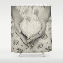 Heart in her hands II Shower Curtain