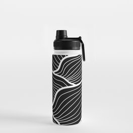 Abstract waves / black & white Water Bottle