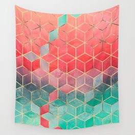 Rose And Turquoise Cubes Wall Tapestry