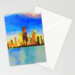 Chicago Skyline At Sunset Viewed From North Avenue Beach Stationery Cards