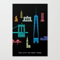 New York Skyline One WTC Poster Black Canvas Print