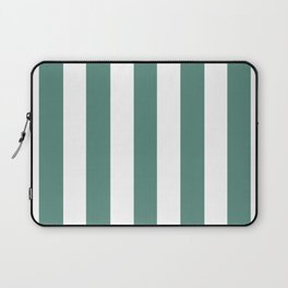 Wintergreen Dream blue - solid color - white vertical lines pattern Laptop Sleeve
