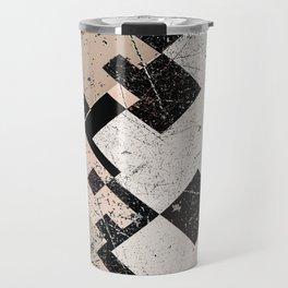 Distressed Subdued Tile Blocks Pattern Travel Mug