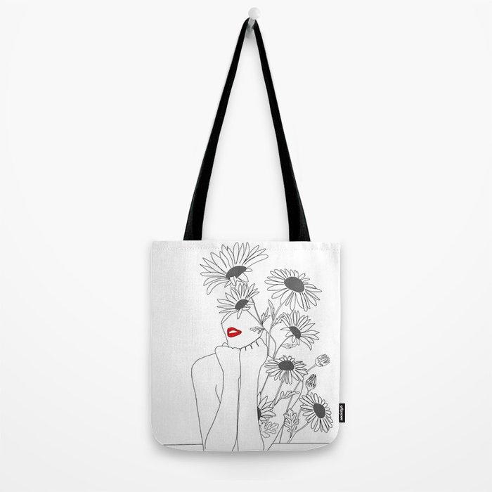 Minimal Line Art Girl with Sunflowers Umhängetasche