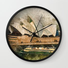 Sydney the opera house watercolor Wall Clock