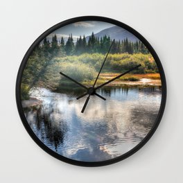 Fall Fly Fishing in Maine Wall Clock