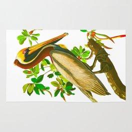 Brown Pelican Vintage Illustration Rug