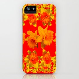 CHINESE RED GOLDEN DAFFODILS GARDEN ART DESIGN iPhone Case