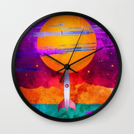 Colorful Outer Space Spaceship Wall Clock