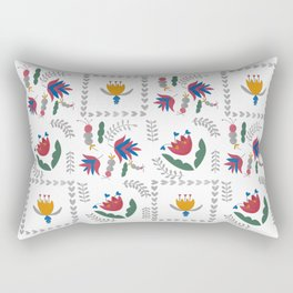 Heart of Silver – Motif – Blue Bell – Scandinavian Folk Art Rectangular Pillow