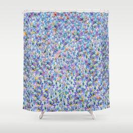 Blue Digital Glitter with Vibrant Sparkles Shower Curtain