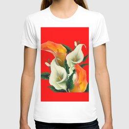 RED & WHITE-ORANGE CALLA LILIES GREY-GOLDEN GARDEN T-shirt