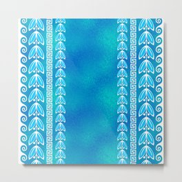 Blue Teal Glass Greek  Pattern Metal Print