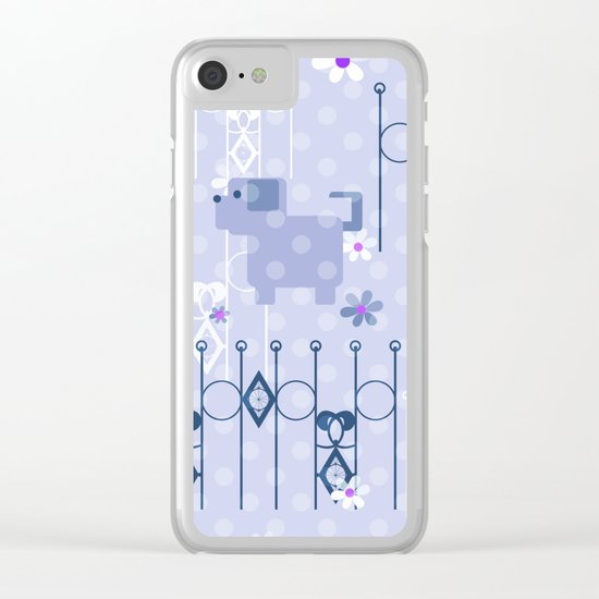 Blue pattern with puppy . Clear iPhone Case