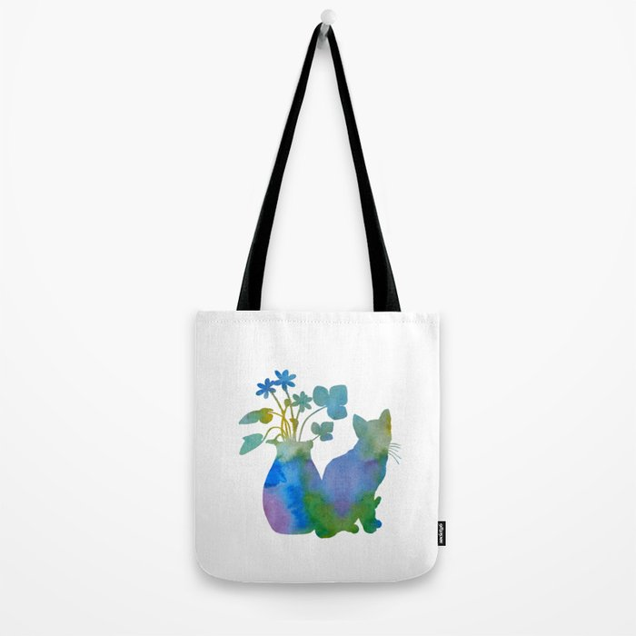 Cat And Flowers Tote Bag