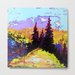 Decorative Abstract Blue Purple Landscape Art Metal Print