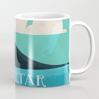 travel poster Mugs featuring Gibraltar vintage Travel poster by Nick's Emporium Gallery
