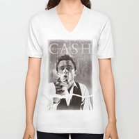 johnny cash V-neck T-shirts featuring Cash by loveme