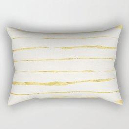 Gold Horizontal Geometric Stripes Rectangular Pillow