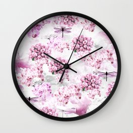 ORCHIDS ROSES MAGNOLIAS and Dragonflies Wall Clock