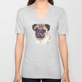 Pug - Dog Portrait Unisex V-Neck
