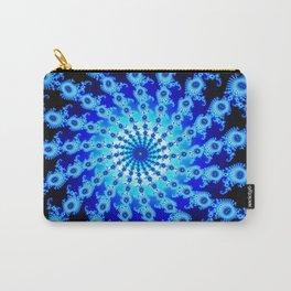 """""""Blue Sun"""" Spiral Fractal Art Print Carry-All Pouch"""