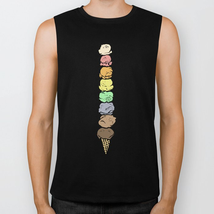 Giant Rainbow Ice Cream Cones Biker Tank