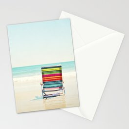Beach Chair Photography, Colorful Coastal Ocean Landscape Stationery Cards