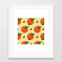 orange pattern Framed Art Prints featuring orange pattern by Avrora-slip