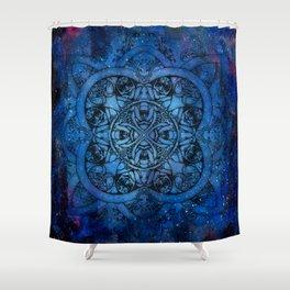 Doctor Who Clockwork Droid Mandala x Watercolor Nebula Shower Curtain