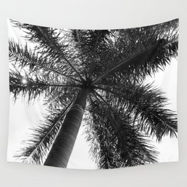 Palm Tree Photography Minimalism Black and White Wall Tapestry