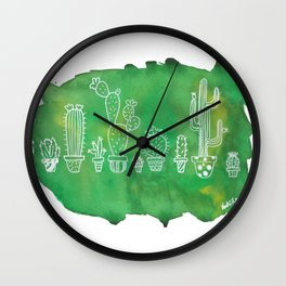 Cacti Line Up Wall Clock