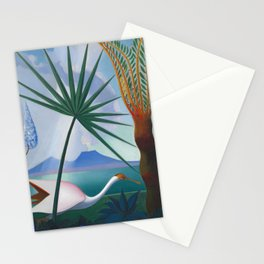 Neapolitan Song, Mount Vesuvius Italian seascape painting by Joseph Stella Stationery Cards