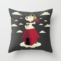 snoopy Throw Pillows featuring Snoopy - Red Baron by Ricardo A.