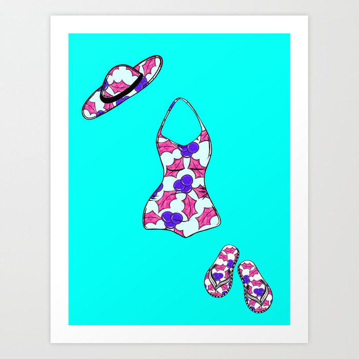Aussie Christmas Card Set Pink & Aqua Design#10 Swimmers Outfit Art ...