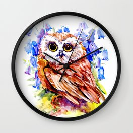 Owl Who Loves Bluebell Flowers, Owl art, Bright colored Owl design Wall Clock