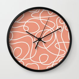 Doodle Line Art | White Lines on Coral Background Wall Clock