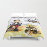 pirate ship Duvet Covers featuring Pirate by LolMalone