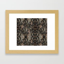Gold Vein Black Marble Design Framed Art Print