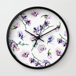 Lavender Blossom Floral Pattern Wall Clock