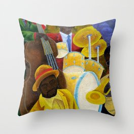 African American Masterpiece 'Jazz Band at the Apollo' portrait painting Throw Pillow