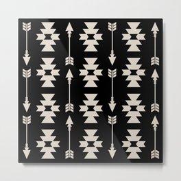 Southwestern Arrow Pattern 252 Black and Linen White Metal Print