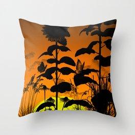 Sunflower in sunset Throw Pillow